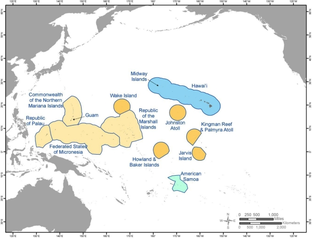 Figure 1-1 Map of the Pacific Islands region and sub-regions. The region includes the Hawaiian archipelago and the US-Affiliated Pacific Islands and comprises the Central North Pacific (blue), Western North Pacific (light orange), Central South Pacific (light green), and the islands of the Pacific Remote Island Marine National Monument (dark orange). Shaded areas indicate each island's exclusive economic zone (EEZ). (Courtesy of Miguel Castrence, East-West Center.)
