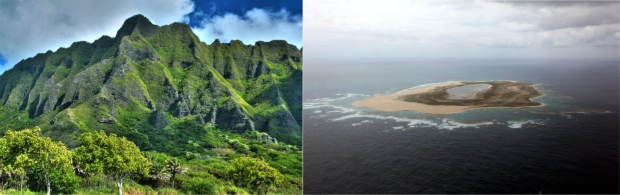 "Figure 1-2 Examples of high and low islands. The Pacific Islands region includes high islands that may rise to more than 13,000 feet above sea level, as well as low islands that are only a few feet above present sea level. (Left: Ko'olau Mountains, © 2008 kstrebor, ""Koolau Mountains windward side-HDR,"" used under a Creative Commons Attribution-NonCommercial-NoDerivs license. Right: Laysan Island, courtesy of Andy Collins, NOAA.)"