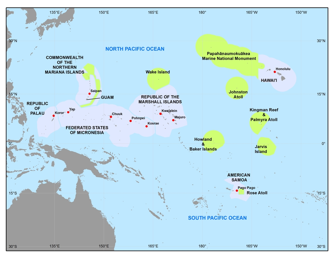 Map Of The US Pacific Islands Region Updated PIRCA - Us pacific islands map
