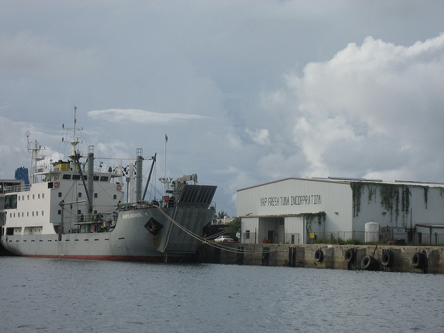 "Photo (c) David Weekly, 2008, ""Boats in Colonia Harbor (Yap)"""