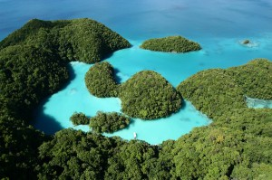 The Rock Islands Southern Lagoon in Koror State, Palau, have been designated a UNESCO World Heritage Site. Numerous limestone islands surrounded by a complex coral reef system form a unique environment. The area also hosts important historical sites of stonework villages, burial sites, and rock art. Photo ©Lux_Tonnerre, 2008, used under a Creative Commons Attribution license.