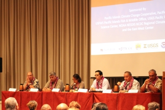 The panelists: (from left) Neil Hannahs, J. Scott Hauger, Olai Uludong, Jesse Souki, Russell Kokubun, and William Aila.